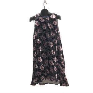 Loft Moody Floral Velvet Swing Dress L